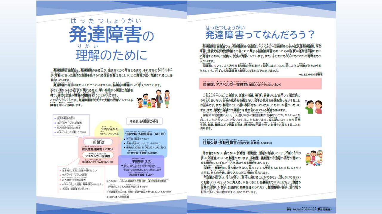 <p>啓発用パンフレット「発達障害の理解のために」</p>
